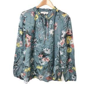 Loft Floral Print Tie Neck Blouse Semi Sheer Sz L
